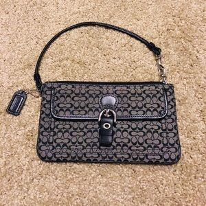 Coach Black fabric and leather strap wristlet